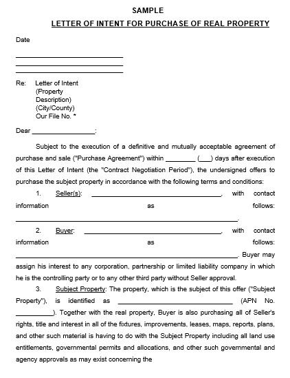 Home Purchase Offer Letter Sample