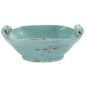 Napa Home & Garden Aegean Collection Deep by 14-1/2-Inch Ceramic Bowl with Curled Handles, Antique Aqua Finish ($54.99)    Cramie at Amazon
