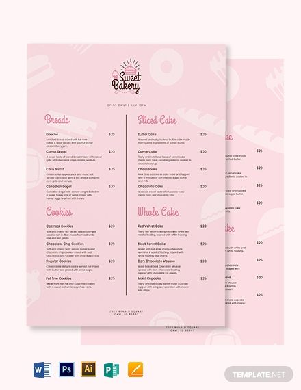 Free Sweet Bakery Menu Template Word Doc Psd Apple Mac Pages Illustrator Publisher Bakery Menu Menu Card Design Menu Design Template