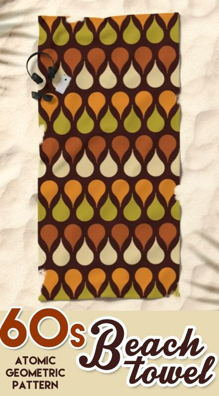 60s Aesthetic Beach Towel Geometric Brown Yellow Drops Space Age