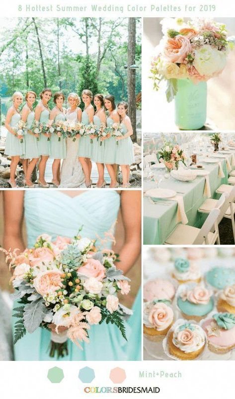8 Fresh Summer Wedding Color Palettes and ideas for 2019 Mint and Peach colsbm bridesmaids weddings weddingideas summerwedding 197173289921989606 Wedding Mint Green, Summer Wedding Colors, Summer Flowers, Burgundy Wedding, Peach Wedding Theme, Summer Wedding Ideas, Mint Green Weddings, Color Wedding Dresses, Mint Wedding Flowers
