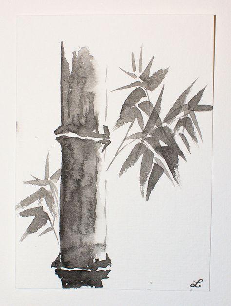 Carte Postale Bambou A L Encre De Chine 2 Paysage Encre De Chine