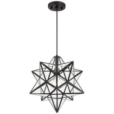Cuthbert 15 W Black And Clear Glass Star Pendant Light Star Pendant Lighting Pendant Light Metal Pendant Light