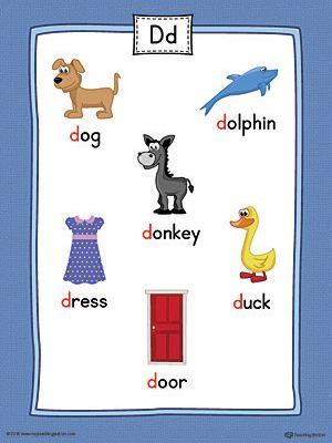 Letter D Word List With Illustrations Printable Poster Color Alphabet Phonics Alphabet Preschool Alphabet Worksheets Preschool