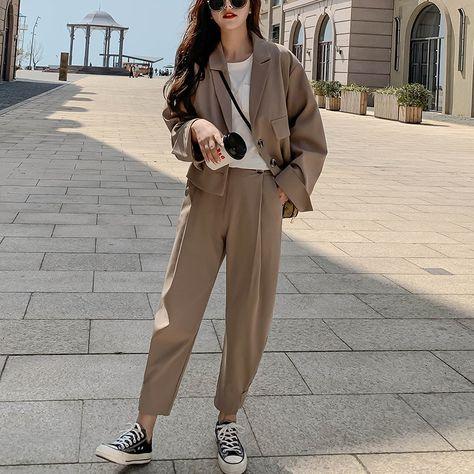 48.99US $ 70% OFF Women 2 Piece Set 2020 Autumn Casual Blazers Loose Office Ladies Business Suit Female Korean Fashion Blazer + Suits Pant Pant Suits    - AliExpress