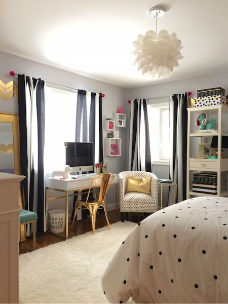 Black, White and Chic All Over: A Teen Bedroom Makeover