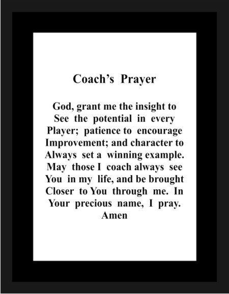 Coach's Prayer 1102 baseball coach gifts gifts for her