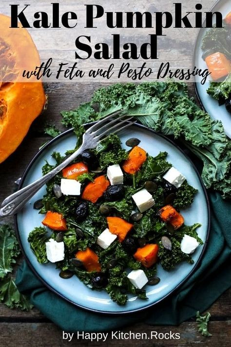 This fall kale salad with roasted pumpkin, feta and pesto dressing is easy, healthy, delicious and it comes together in less than 30 minutes. #kalesalad #pumpkinsalad #kale #pumpkin #vegetarian #fallsalad #healthysalad #lunchrecipe   happykitchen.rocks