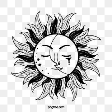 Solnce Luna Cherno Beloe Tatu Tatu Solnechnyj Luchik Luna Png I Psd Fajl Png Dlya Besplatnoj Zagruzki Black White Tattoos White Tattoo Black And White Cartoon