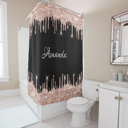 Name Sparkly Glitter Drips Pink Rose Gold Blush Shower Curtain