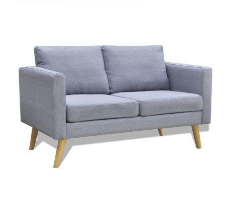 Vidaxl 2 Seater Sofa Light Gray Retro Sofa Comfortable Couch Fabric Sofa