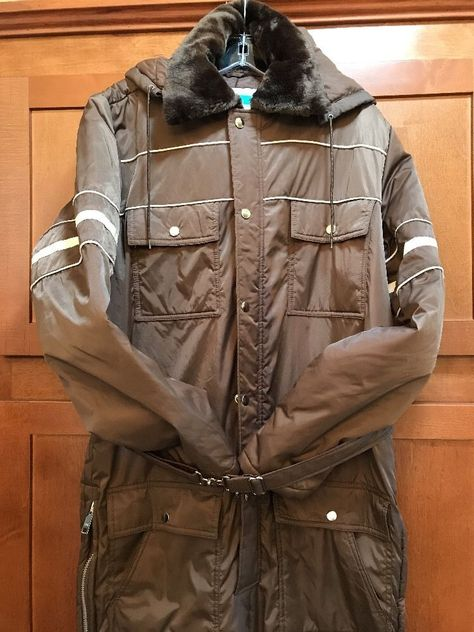 b22b206c2f2 Sears Work   Leisure Brown Snowmobile Snow Suit Winter Coveralls Big Tall  Sz 40  SearsWorkLeisure