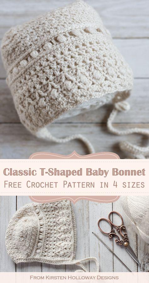 Baby Bonnet Pattern, Crochet Baby Bonnet, Crochet Beanie Pattern, Crochet Baby Clothes, Newborn Crochet, Crochet Gifts, Cute Crochet, Crochet For Kids, Beautiful Crochet