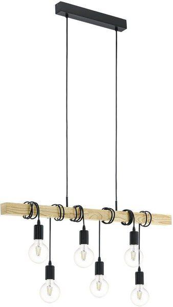 Eglo Hangeleuchte Townshend 95499 E27 6x60w Stahl Schwarz Lampen Deckenlampe Holz Und Pendelleuchte