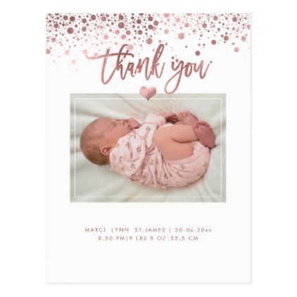 Baby Shower Thank You Dazzled Faux Rose Gold Postcard Baby Shower Thank You Cards Baby Shower Thank You Baby Shower Thank You Gifts
