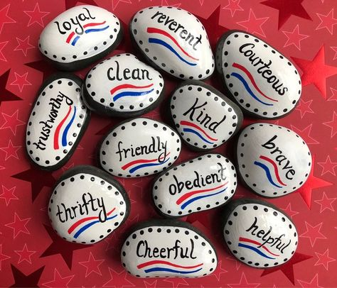 Boy Scouts Law Twelve Points, Set of 12 Painted Stones, Painted Rocks, Scouts Gift, Scout Promise, Scout Oath