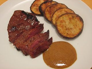 Bobby Flay's Marinated Chuck Tender Steaks with Bar Americain Steak Sauce (honey mustard vinegar oil yum) - via Jenn's Food Journey