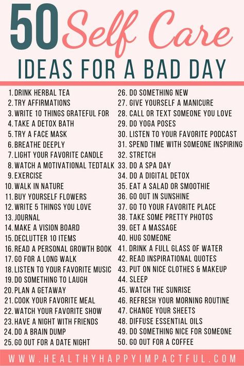 50 Self Care Ideas (with free printable) for a bad day! Take care of your mental health with these easy activities to make you feel better. Important things to do for women and moms to take care of their mind, body, and soul. #loveyourself