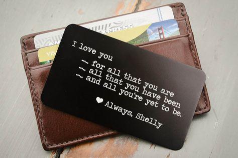 Personalized Wallet Card, Metal Wallet Insert, Engraved Wallet Card, Custom Wallet Insert: Valentine
