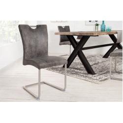 Moderner Freischwinger Stuhl Buffalo Vintage Grau Mit Edelst