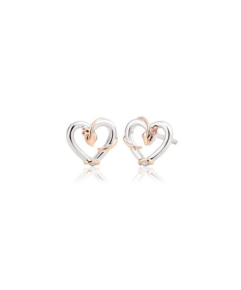 The Tree of Life collection symbolises the relationship of all life on Earth, and in these stylish stud earrings leaves and vines in our rare Welsh gold caress classic sterling silver hearts. Be inspired by our elegant and organic Tree of Life design.