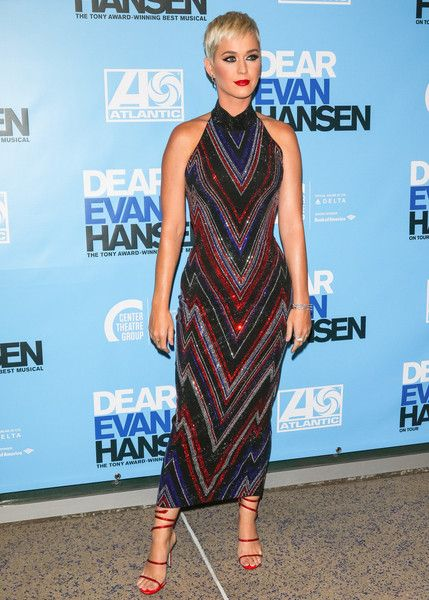 Katy Perry is seen arriving to the Los Angeles opening night performance of 'Dear Evan Hansen' at Ahmanson Theatre.