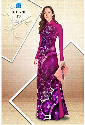 Traditional Vietnamese Long Dress Collections with Pants Ao Dai Silk 3D ADVN0405202261