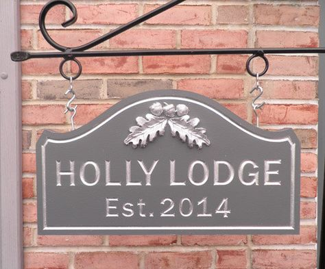 Custom Carved House Name Sign Holly Lodge By CarvedHouseSigns On