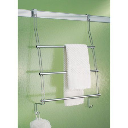 Interdesign Classico Over The Door Towel Rack With Hooks For Bathroom Chrome Walmart Com Shower Doors Over Door Towel Rack Towel Rack
