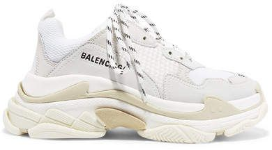 Balenciaga Triple S suede, leather and mesh sneakers in