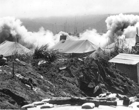 khe sanh | Khe Sanh receiving rocket hits from NVA during the ... | Vietnam War