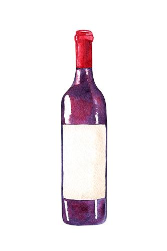Watercolor Red Wine Clipart Glass And Bottle Png Illustrations Instant Download Watercolor Red Wine Bottle Illustration Clip Art