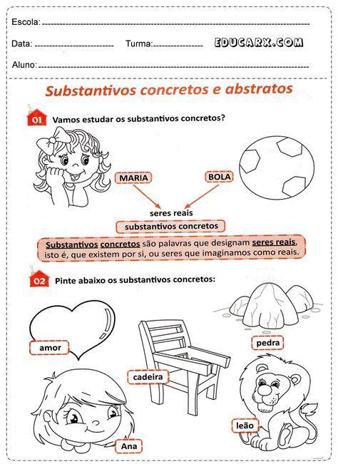 Atividades Com Substantivos Abstratos E Concretos Substantivos