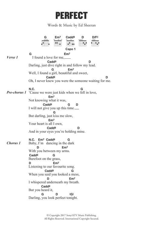 Perfect by Ed Sheeran - Guitar Chords/Lyrics - Guitar Instructor