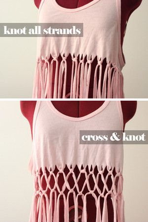 DIY Macramé Tank Top. Thinking about doing this with a big oversized T-shirt and making it into a cover up for the beach