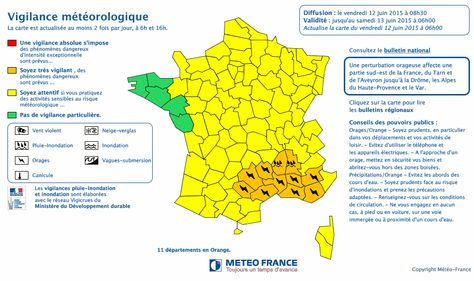 Carte De Vigilance Meteo France Appels