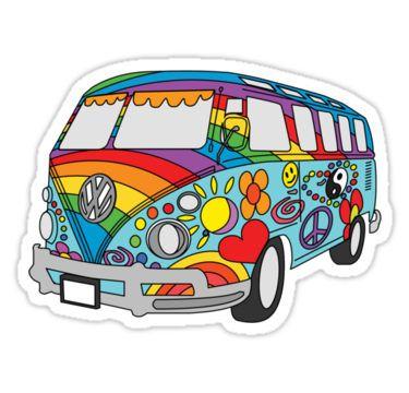 Painted Vw Hippie Van Stickers Con Imagenes Dibujo Hippie Calcomanias Personalizadas Arte De Pared Hazlo Tu Mismo