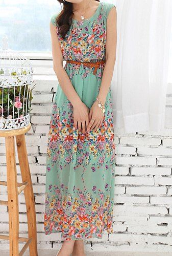 Bohemian Women's Scoop Neck Floral Print Sleeveless Chiffon Ankle-Length Dress