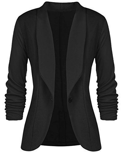 FashionOutfit Women/'s Solid Lightweight 3//4 Ruched Sleeves Thin Cardigan Blazer