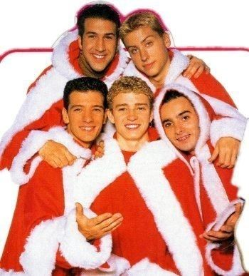 18 Extremely Awkward Celebrity Christmas Photoshoots: Merry Awkward Christmas from Nsync