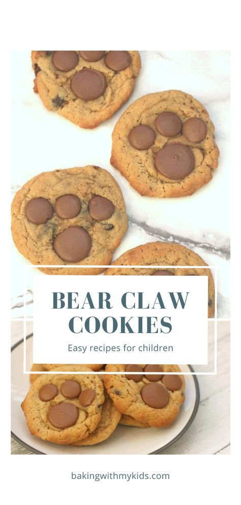 Cookies are a great thing to bake with your kids as they're so simple. These bear paw cookies are even more fun and sure to be a hit with any little one!  #baking #kids #bakingwithkids #cookies #biscuit #bakingwithkids #preschoolactivity #chocolate #bear #fun #cute #easy #recipe
