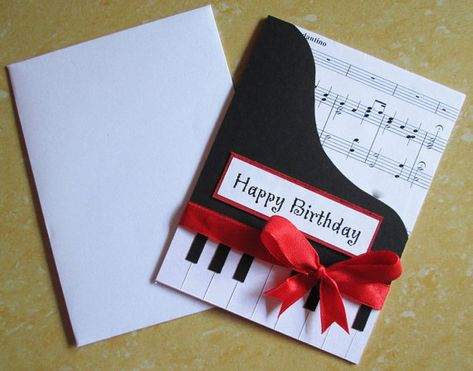 Piano Happy Birthday Card Music Themed Greeting For Wife Mom