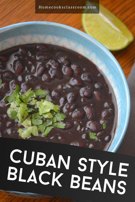 Learn how to make simple and comforting Cuban style black beans with our recipe. Just make a simple soffrito of onion, bell pepper, and garlic. Then add the boiled black beans to it along with a few spices and enjoy! Cuban Black Beans, Dried Black Beans, Mexican Style Black Beans Recipe, Black Beans And Rice, Goya Recipe, Goya Black Beans Recipe, Cuban Dishes, Cuban Cuisine, Black Bean Recipes