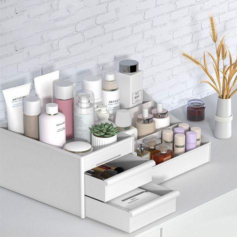 Makeup Storage Box, Makeup Drawer Organization, Make Up Storage, Room Organization, Beauty Storage Ideas, Bathroom Vanity Organization, Bedroom Organisation, Makeup Display, Makeup Holder
