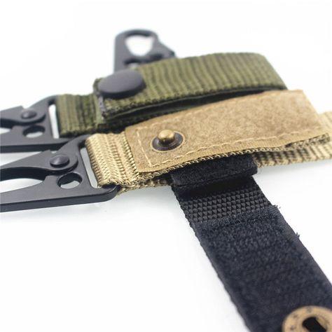 Molle Military Tactical Nylon Belt Key Webbing Hook Buckle Strap Carabiner Clips
