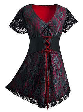 Lacey Corset Top - Scandalous! A layer of elegant black lace quiets but cannot hide the tempting siren call of this slinky red top. Corset-style lacing helps define your shape, lace flutter sleeves add a final flirtatious touch. - $49.00