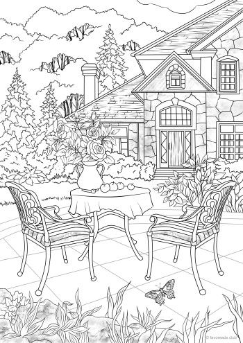 Summer Cottage Free Adult Coloring Pages