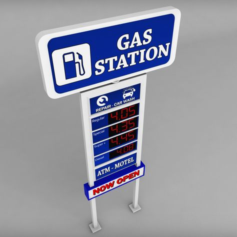 gas station price sign totem low poly pack business card templates