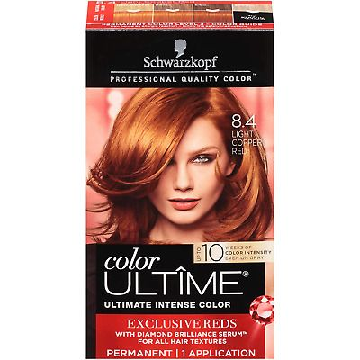 Schwarzkopf Color Ultime Permanent Hair Color Cream 8 4 Light Copper Red In 2020 Best Red Hair Dye Dyed Red Hair Hair Color Cream