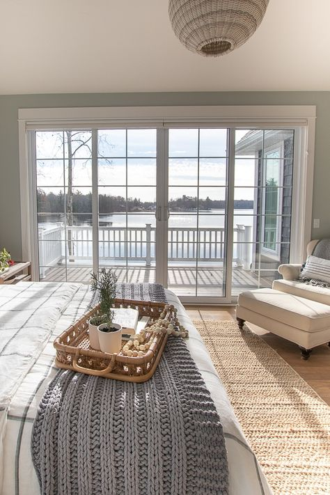 Cozy Winter Master Bedroom - The Lilypad Cottage - - Cozy winter master bedroom. Fresh winter bedding and accessories give this white and gray lake house master bedroom a cozy makeover. Cozy Bedroom, Dream Bedroom, Cozy Master Bedroom Ideas, Cottage Bedroom Decor, Bedroom Balcony, Cottage Bedrooms, Grey And White Bedding, Gray Bedding, Nautical Bedding